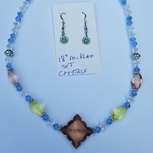 Jewelry - Handmade crystal necklace and earring set